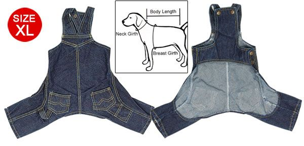 Image detail for -... XL Blue West Cowboy Style Jeans Overalls Puppy Clothes ,Dog Jeans