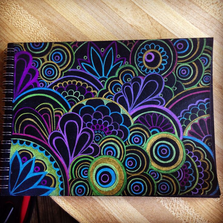 Black paper with prisma colored pencils