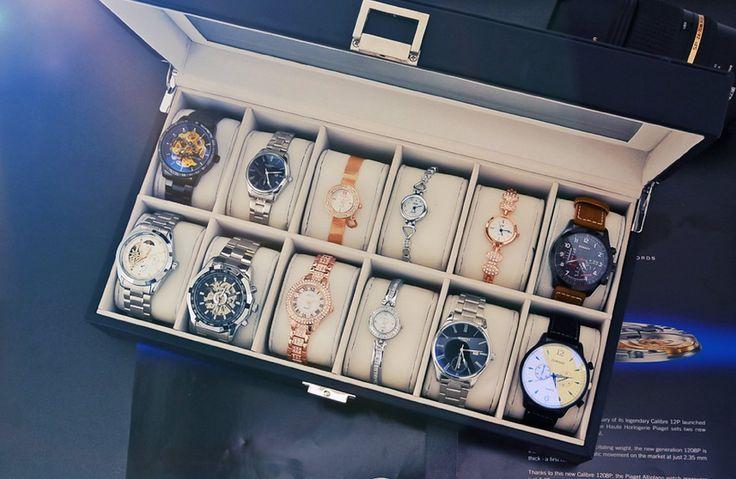 Amazon.com: dearWYW Watch Display Box Organizer Glass Top 12 Unit 4 Colors (Checked-Beige): Home & Kitchen