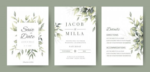 Modele De Carte D Invitation De Mariage Avec Decoration De Feuilles Vertes Wedding Invitation Cards Wedding Invitations Watercolor Floral Wedding Invitations