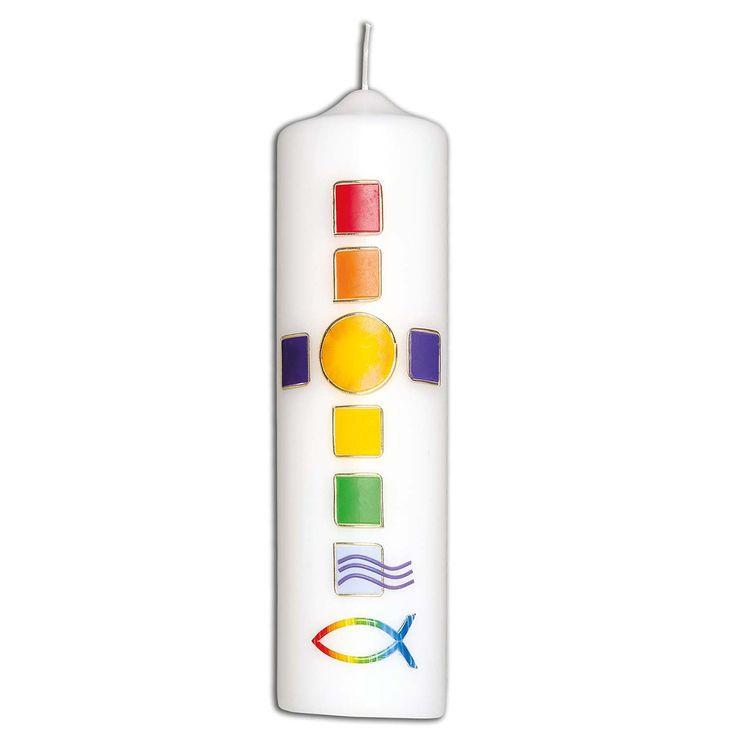 Kerze »Regenbogenkreuz«