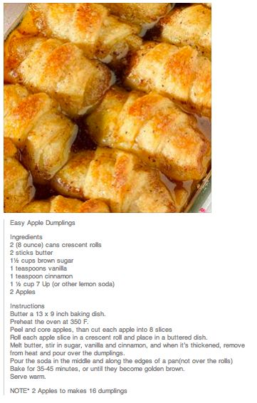 Easy Apple Dumplings...made with 2 (8 ounce) cans of crescent rolls