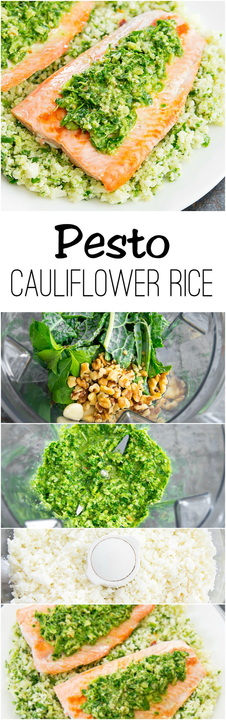 Pesto Cauliflower Rice with Salmon. This rice substitute is so easy to make and pairs well with almost any entree.