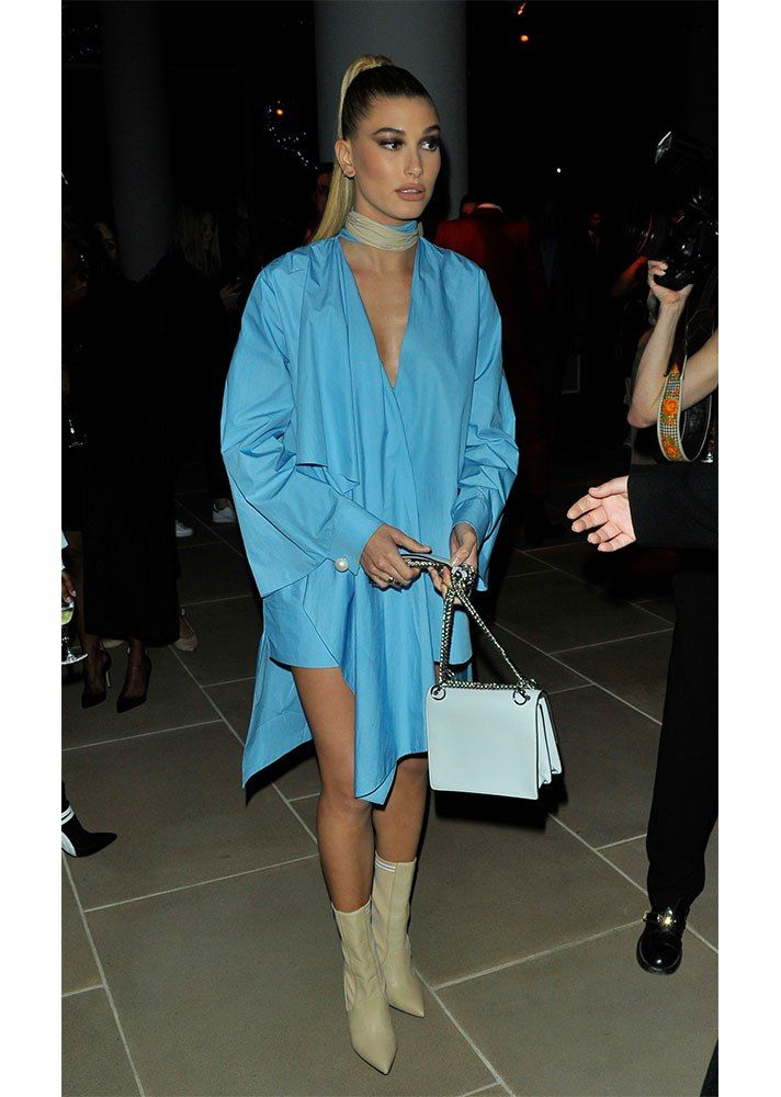 STYLECASTER | Hailey Baldwin Best Street Style Guide | bright blue dress with matching tan choker and shoes