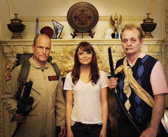 Woody Harrelson, Emma Stone, and Billy Murray in Zombieland. Yes, yes, yes.