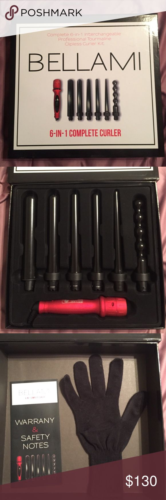 Bellami 6 in 1 curling iron Only used once! And didn't even use all the wands! Got as a gift and love it but I have way too many hair tools already! This is an amazing set that allows you to do a ton of different styles! From beachy waves to corkscrew curls. Sells for $300 online but I want to make room in my place so I'm selling for over half off! Comes with heat styling glove to protect your digits! Bellami Accessories Hair Accessories