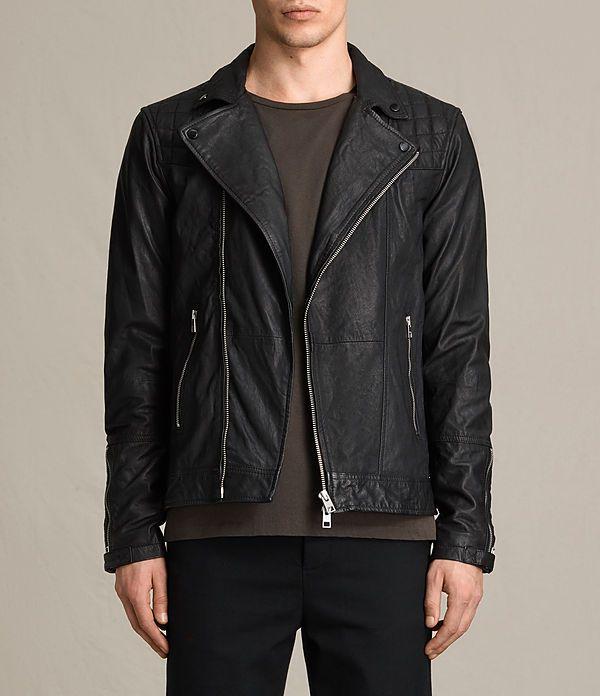 Men's Kushiro Leather Biker Jacket (Black) -