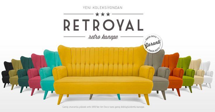 RetRoyal Retro Kanepe. Geniş oturumlu yüksek sırtlı 1950'ler Art Deco tarzı geniş ikili/üçlü/dörtlü kanepe.   http://www.altincicadde.com/ara?q=retro
