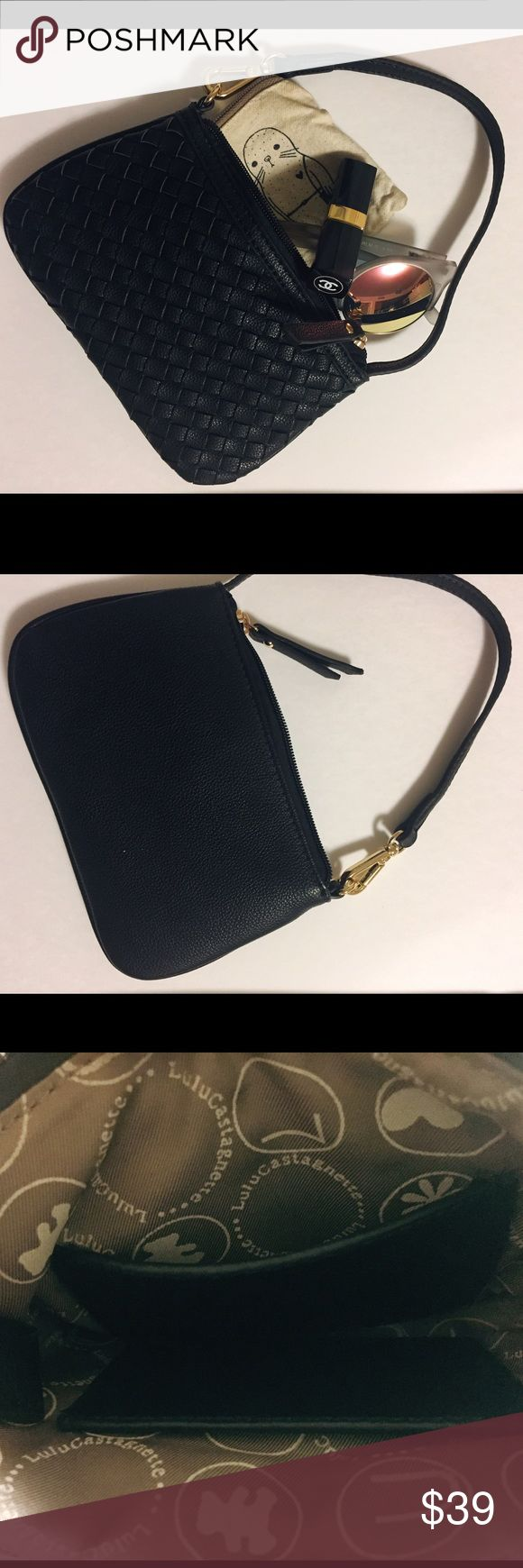 """NWOT Lulu Castagnette leather wristlet wallet NWOT Lulu Castagnette wristlet. Black weaved leather with gold metals. Zip closure. There are 2 card slits inside. Fully lined with Lulu Castagnette logo fabric inside. It fits iphone 6 (maybe not iphone 6+), small coin purse, and a lipstick. NOT from KS, it's from Lulu Castagnette (Made in France). Measurement: 7.5 x 4.5 x 1"""". Feel free to ask any questions if you have. Thank you 💕 kate spade Bags Clutches & Wristlets"""