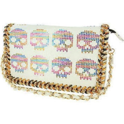 IRON-FIST-DIGI-SKULL-WHITE-CLUTCH-BAG-NEW-WITH-TAGS-B13C