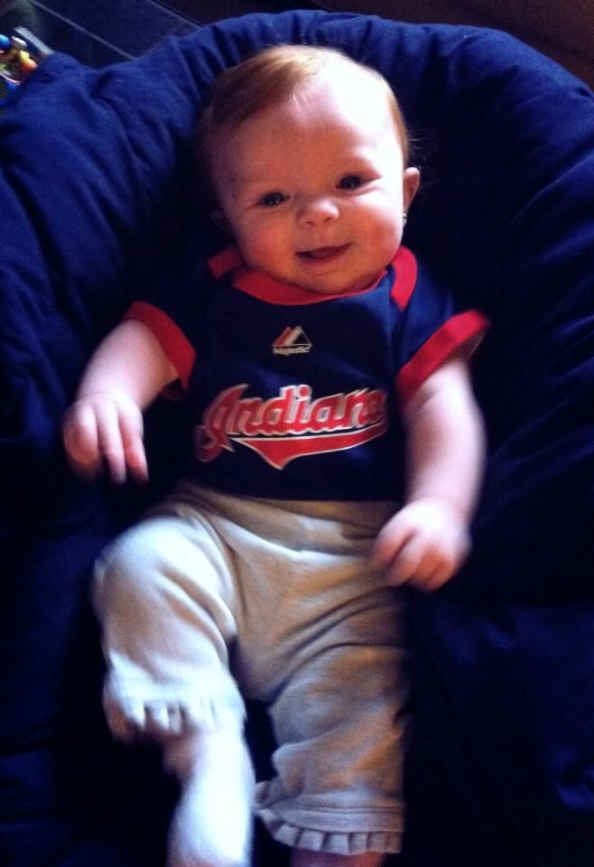 Brielle at 7 months - all ready for the Indians opener