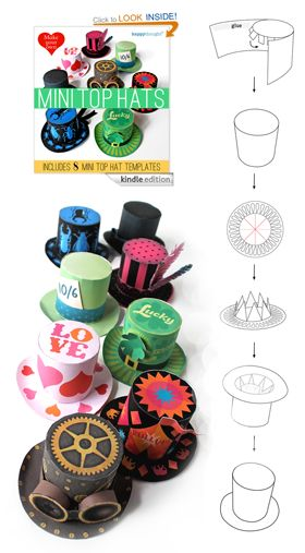 Happythought's Amazon best seller on the kindle 'Make your own Mini top Hats' is on free book promotion for 2 days next week. Take advantage and download 8 different miniature top hat patterns. Instant no-sew mini party top hats!  Amazon Promotion: April 22, 2014 - April 23, 2014  #tophats #minitophats #paper #nosew