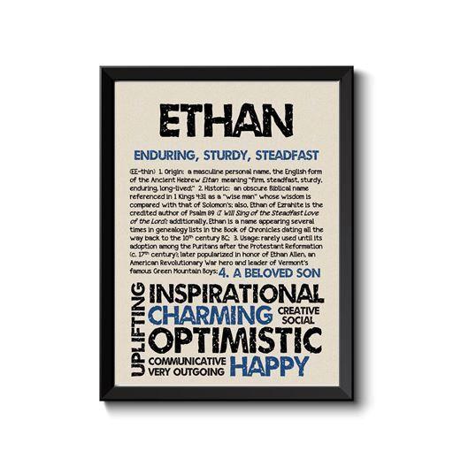 ETHAN personnalisé nom Print / typographie Print / détaillée nom définitions / numérologie-calculé destin Traits / éducatifs