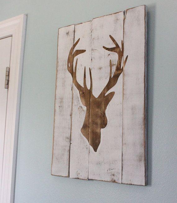 White Distressed Deer Head Silhouette Wood Sign  by mellisajane, $60.00