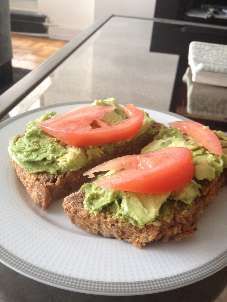 "... hummus"", mashed organic avocado, and sliced tomato. Yummy lunch"
