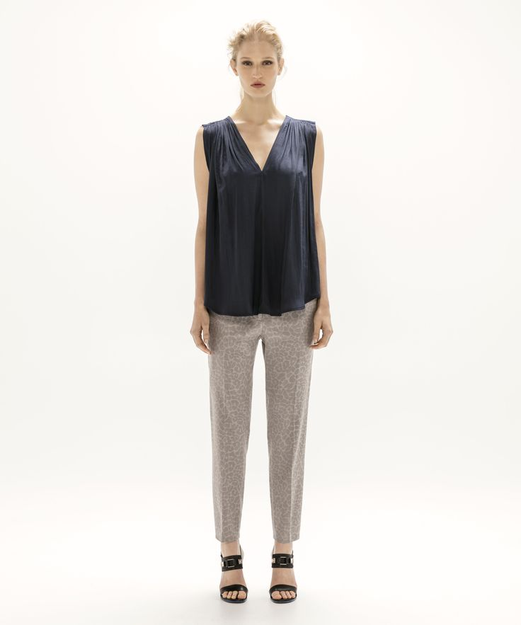 Lucia Top - Navy and Cropped Trouser - Grey