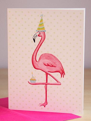 Flamingo, Moi j'aime les cupcakes, I like cupcakes, Greeting card