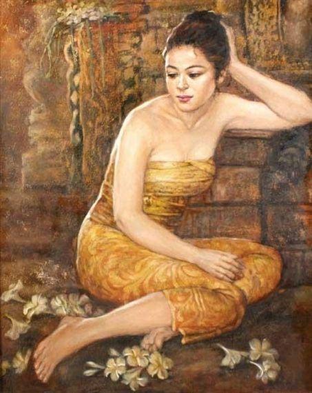 Josephine Linggar - Istirahat Sejenak, 2000, oil...