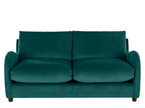Sofia 2 Seater Sofabed Plush Mallard Velvet Canape Convertible Canape Convertible Bleu Canape Lit
