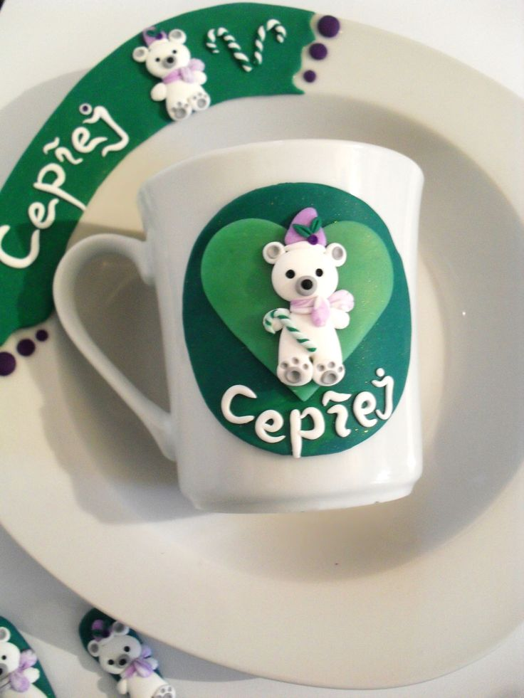 Teddy Bear Ceramic Mug Personalized Mug Teacup Milk Hot Chocolate Cup Green And White Mug Polar Bear Mug Toddler Boy Gift Toddler Girl Gift by LaPurpuraTreasures on Etsy