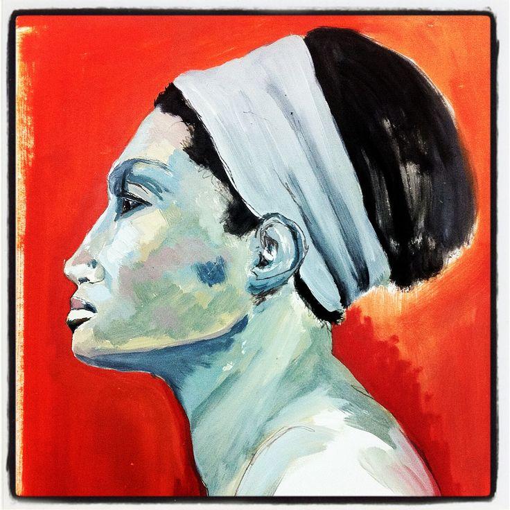Portrait, technique mixte, huile et crayons de couleurs sur papier. Portrait, mixed techniques oil And Colors pencils on paper