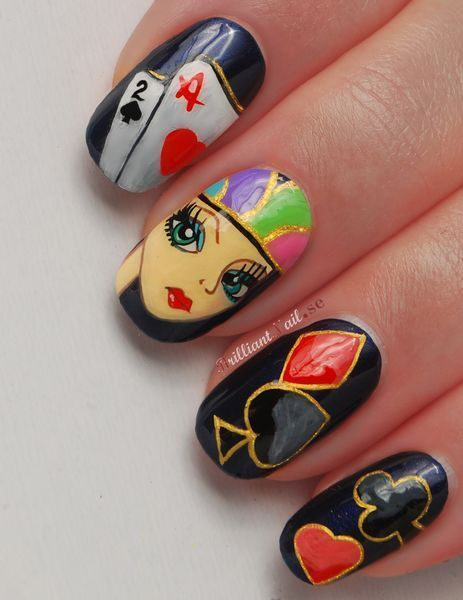 OPI Russian Navy as a base & the design is freehand painted with acrylic paints   http://brilliantnail.se/nagel-blogg