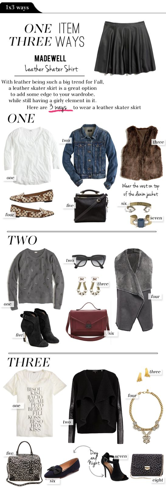The Vault Files: Blog Series: 1x3 ways - Madewell Leather Skater Skirt outfit