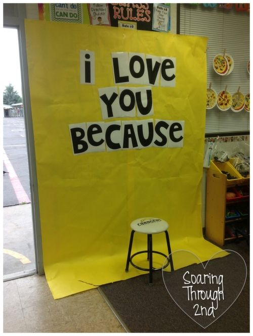I love you because backdrop - this is such a cute classroom Valentine's Day project