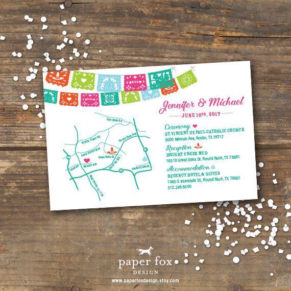 Fiesta Wedding Direction Map Info Card Printable