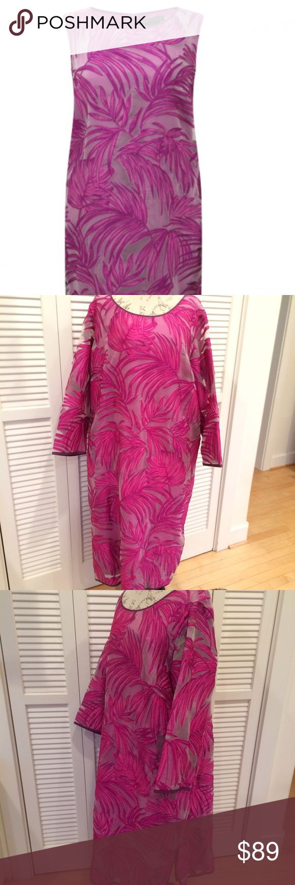 """Marina Rinaldi silk devore formal dress, NWOT Marina Rinaldi fuchsia silk devore formal dress, NWOT. I removed the labels, but you can find the same dress at """"Beige plus size clothing, UK"""" where it was purchased. Bought it for a wedding that I couldn't attend. Never worn. Fully lined, A line with slits on each sides. Shoulder to hem length 46"""", pit to pit bust width 27"""". width at the hem 30"""". Marina Rinaldi Dresses"""