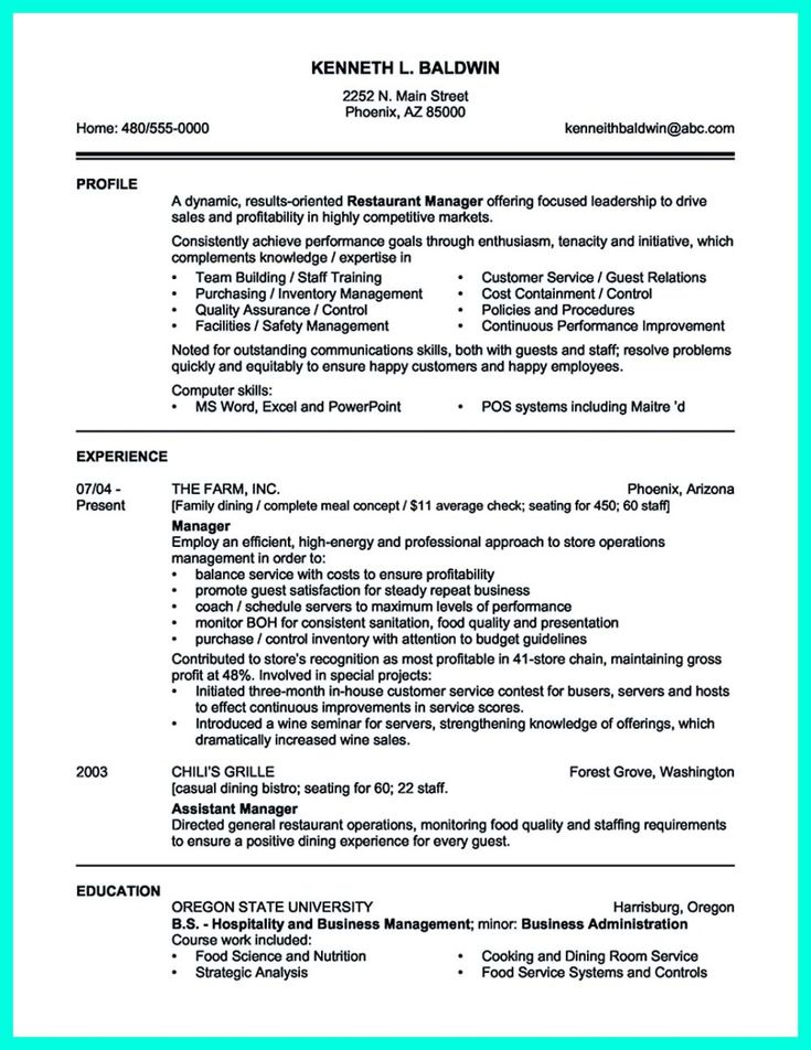12 best Resume Examples images on Pinterest Best resume template - salon manager resume