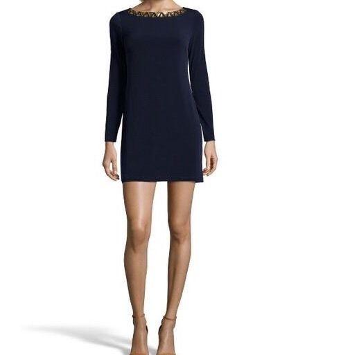 Vince Camuto Size 6 Navy Long Sleeve Shift Jeweled Neck Dress Gold Zip Up Back | eBay