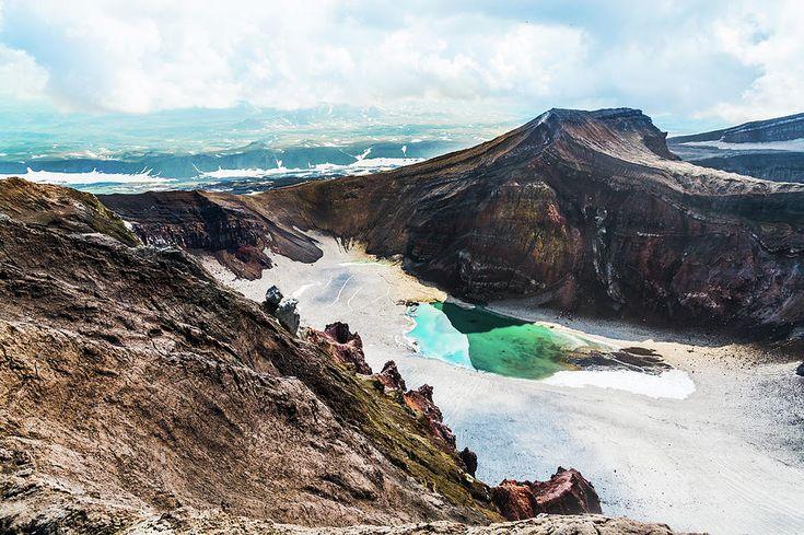 Blue Lake In Crater Of The Volcano Photograph by Nadezhda Tikhaia   #NadezhdaTikhaiaFineArtPhotography #ArtForHome #HomeDecor #Nature #Landscapes #InteriorDesign #FineArtPrints