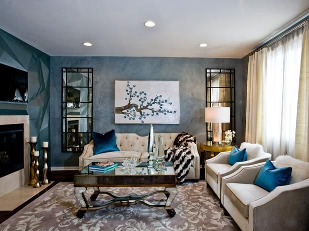 ev dekorasyon renkleri, renk çemberi: Decor Ideas, Color Schemes, Blue Wall, The Angel, Interiors Design, Neal Interiors, Charles Neal, Jewels Tones, Living Rooms Ideas