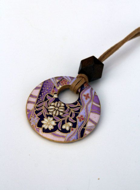 Gorgeous Chiyogami Washi Paper Wood Pendant by BeautyInTheDetail, $15.00