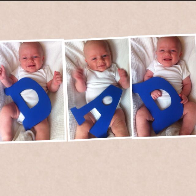 First Fathers's day gift!  I just need to print off each picture individually and place in 3 picture collage frame. Thanks Pinterest for the idea!