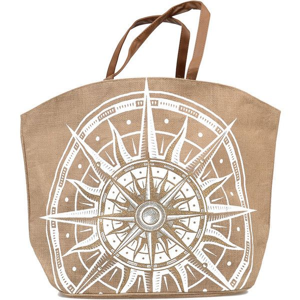 Tan & White Compass Print Woven Aweigh We Go Jute Tote (780 INR) ❤ liked on Polyvore featuring bags, handbags, tote bags, purses, brown, jute tote, woven tote bags, handbags totes, jute tote bags and nautical tote bags