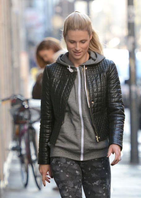 Celebrities In Leather: Michelle Hunziker wears a black leather jacket