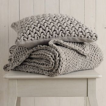 Chunky Silver Hand-Knit Throw & Cushion