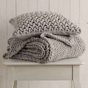 Chunky Silver Hand-Knit Throw & Cushion