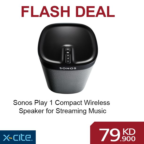 Sonos Play 1 Compact Wireless Speaker for Streaming Music available online for 79.900KD with 5KD coupon.  http://www.xcite.com/audio-mp3/accessories/audio-accessories/sonos-play-1-compact-wireless-speaker-for-streaming-music-black.html