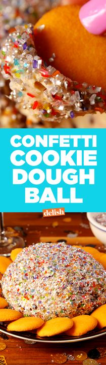 You'll devour this Confetti Cookie Dough Ball long before the real one drops. Get the recipe from Delish.com.