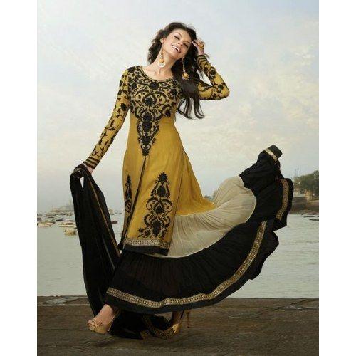 Craftsvilla Com Pashmina Suits: Black Designer Marvelous Long Anarkali Suit