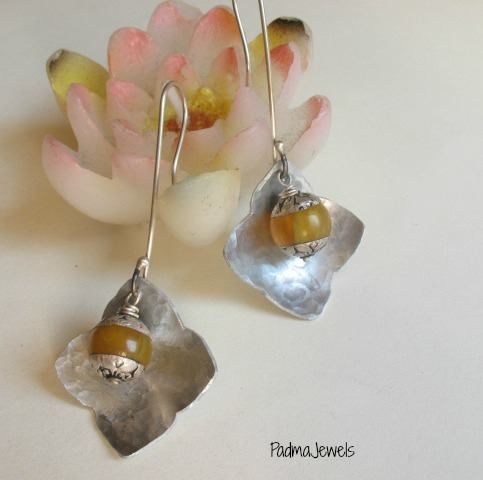 Nepali earrings, aluminium earrings, silver and nepalese beads handmade by Padma Jewels
