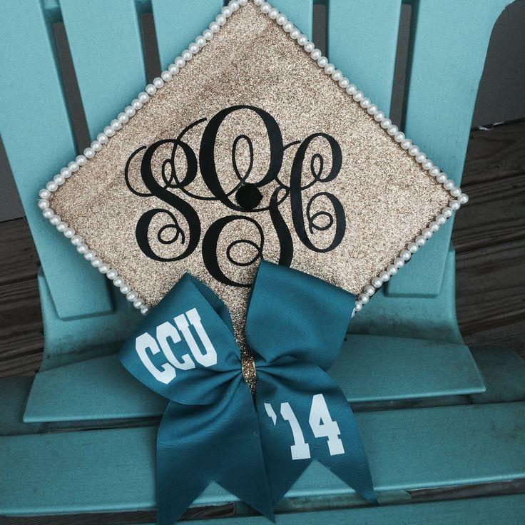 Graduation cap 2014! Bow, Glitter & Monograms oh my god !! Coastal Carolina University Gad Beanie