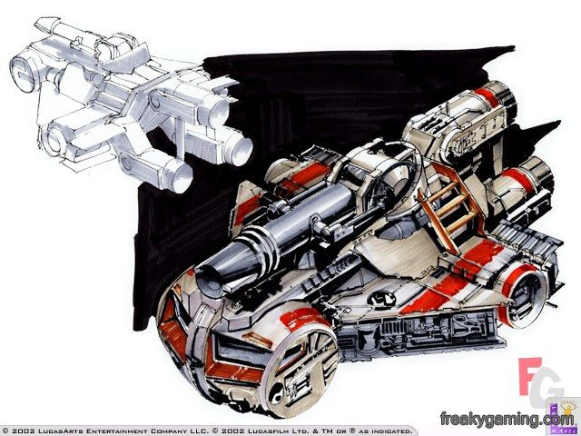 Star Wars Galactic Battlegrounds rebel air cruiser concept art