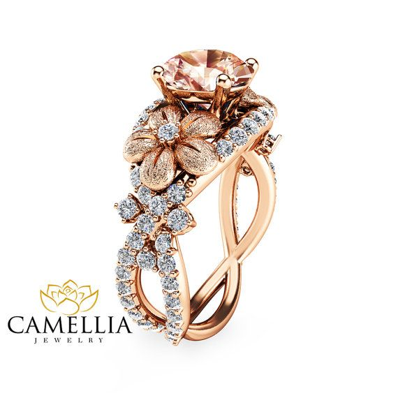 14K Rose Gold Morganite Engagement Ring Rose by CamelliaJewelry