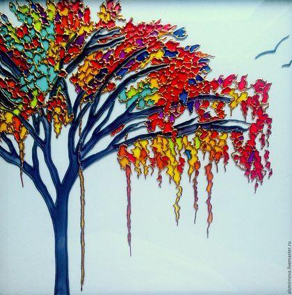 Пейзаж ручной работы. Ярмарка Мастеров - ручная работа. Купить картина на стекле - Цветущее дерево. Витражная роспись.. Handmade.