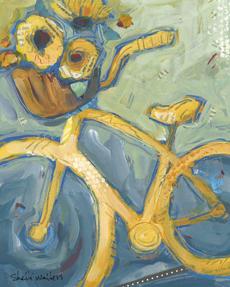 Bike Yellow Cruiser Daisies Original Painting. $160.00, via Etsy.