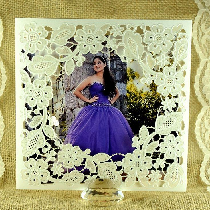 """Invitación para 15 años """"Dulce Jazmín"""" con fotografia #moderna #corte #láser #flores #dorado #gold #ondinecollection #cdmx"""